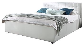 sette notti Polsterbett Bett 160x200 Weiß, Kunstleder-Bett mit ...