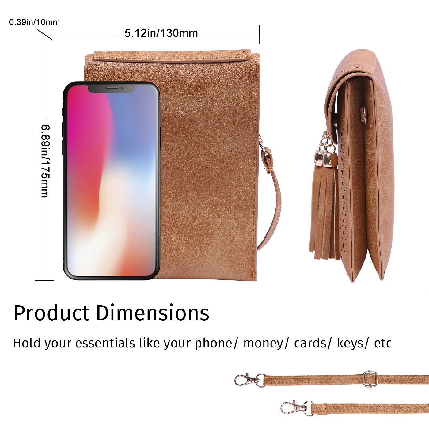 HDE Small Crossbody Pouch Purse Tassel Travel Phone Wallet Vintage Leather Bags (Brown) by HDE (Image #3)
