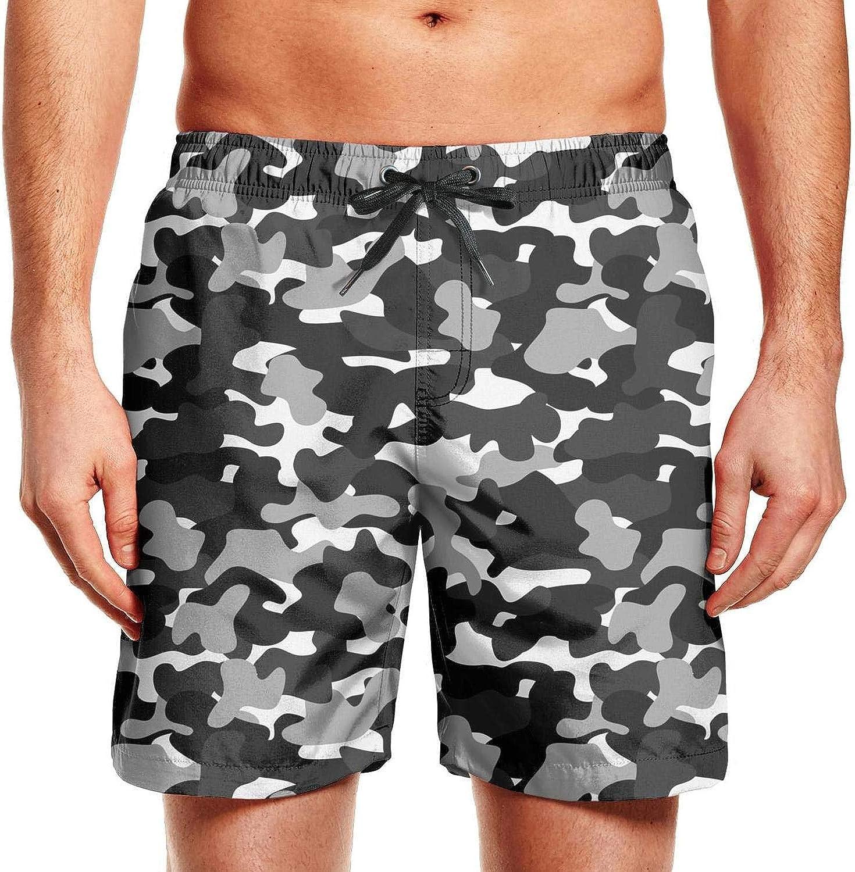 Mens Military Camo Camouflage Adjustable Waistline Beach Shorts High Waisted Jogging Shorts