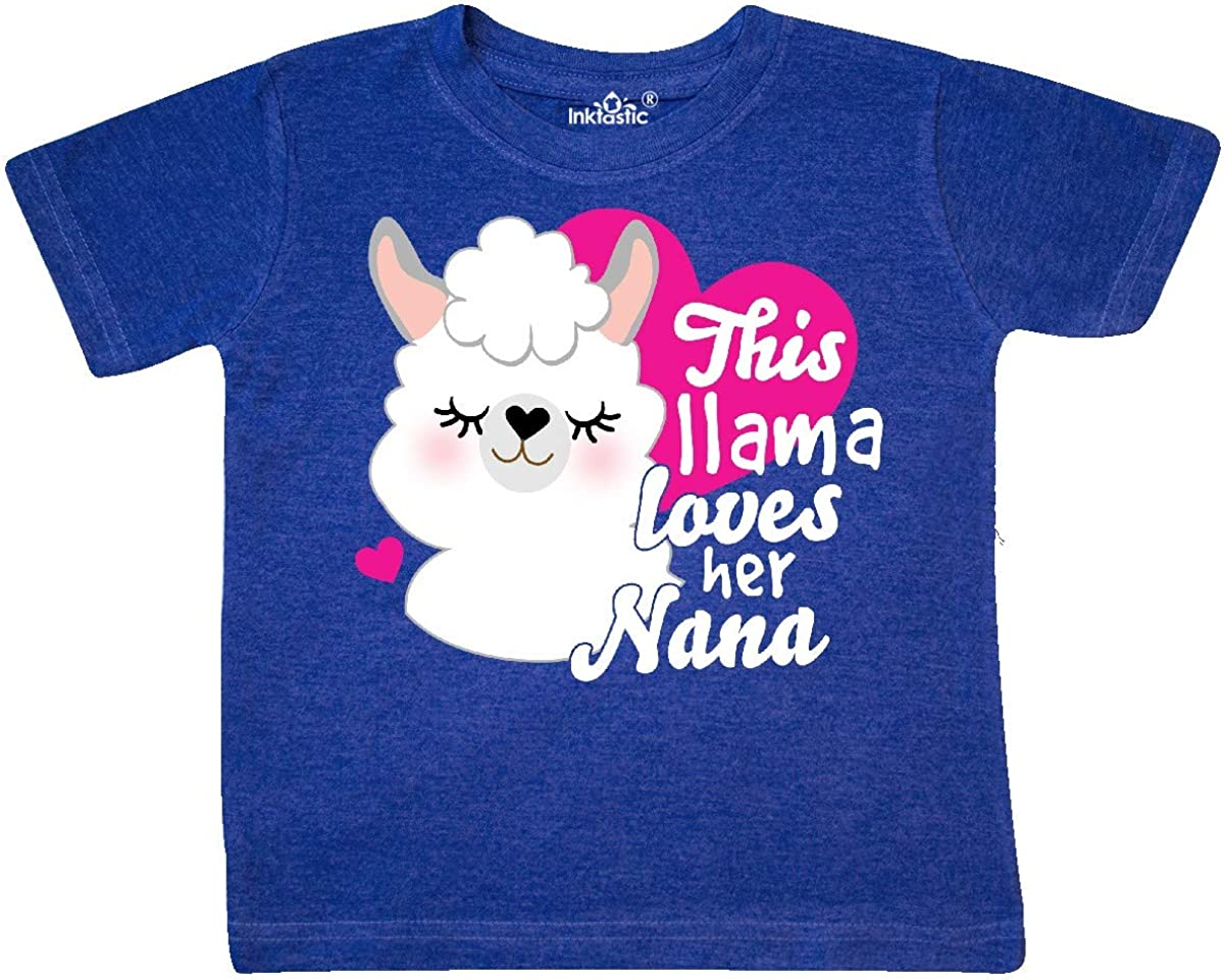 inktastic Valentines Day This Llama Loves Her Nana Toddler T-Shirt