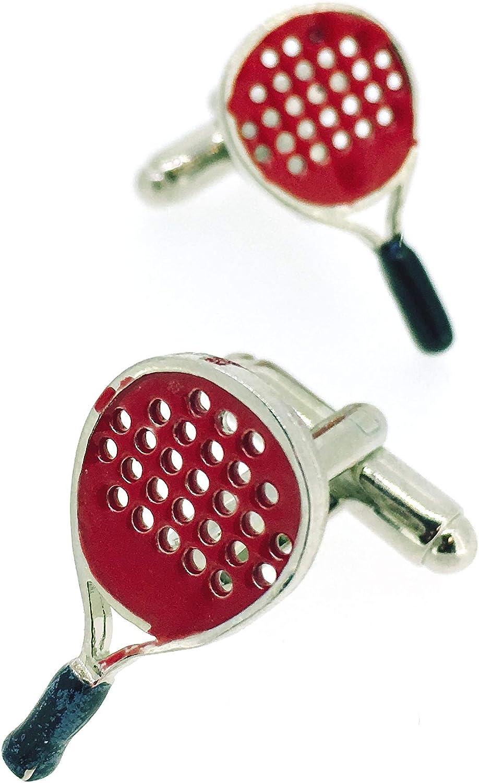 Gemelos para camisa Pala Raqueta Padel Roja