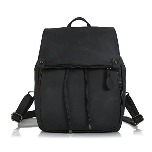 Backpacks Women Nylon bagpack Softback Solid Bag Fashion Soft Handle Escolar rucksack,Black