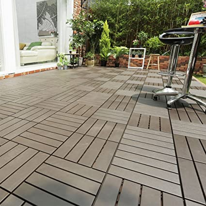 HARRA HOME Quick Composite Decking Interlocking Multi Use Flooring Deck  Tiles, Suitable For Indoor
