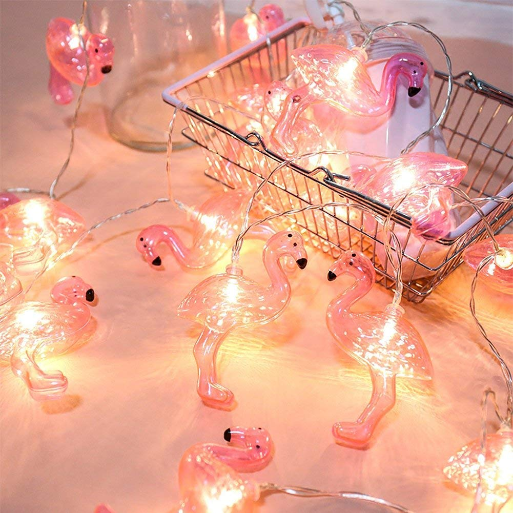 Pink Flamingo Lights, Outdoor LED String Lights 3m Set of 20 LED Battery Operated Flamingo Fairy Lights Tropical Themed Strung Light for Wedding Garden Decoration by DomeStar