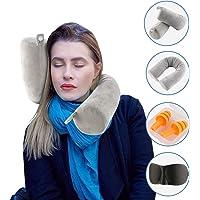 ShuBel Comfy Memory-Schaum Reise nackenkissen, Büro und Haus Schlafkissen, waschbarer Reisekissen mit Nackenstütze Funktion für Flugzeug, Auto, Zug, Schlafmaske und Ohrenstöpsel