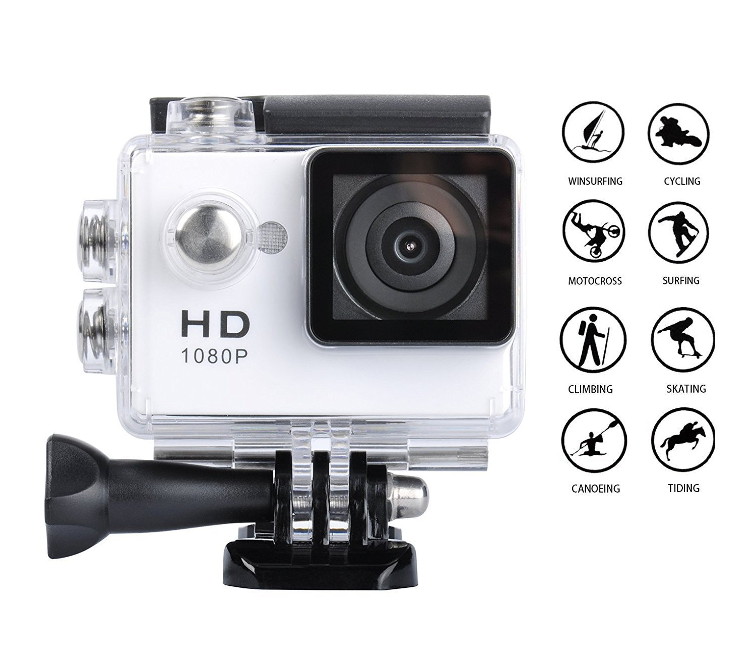 Digital Action Camera Waterproof Sports Camera Cam Camcorders Wifi HD 1080P 30fps 12MP 170 Degree Wide Angle and Helmet Accessories Kit- Waterproof 100ft (white)