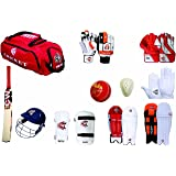 Cw Sports Team Cricket Kit Combo Red For Men'S Senior Cricket Kit With Kashmir Willow Hi- Tech Cricket Bat Complete Batting & Keeping Accessories