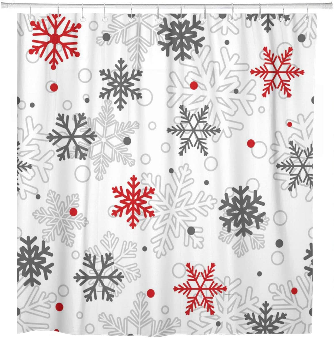 ArtSocket Shower Curtain Christmas of Big and Small Snowflakes Red Gray Home Bathroom Decor Polyester Fabric Waterproof 72 x 72 Inches Set with Hooks