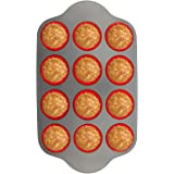Silicone Muffin Pan With Steel Frame, 12 Cups Full Size | Professional Non-Stick Baking Molds by Boxiki Kitchen | BPA-Free Ba