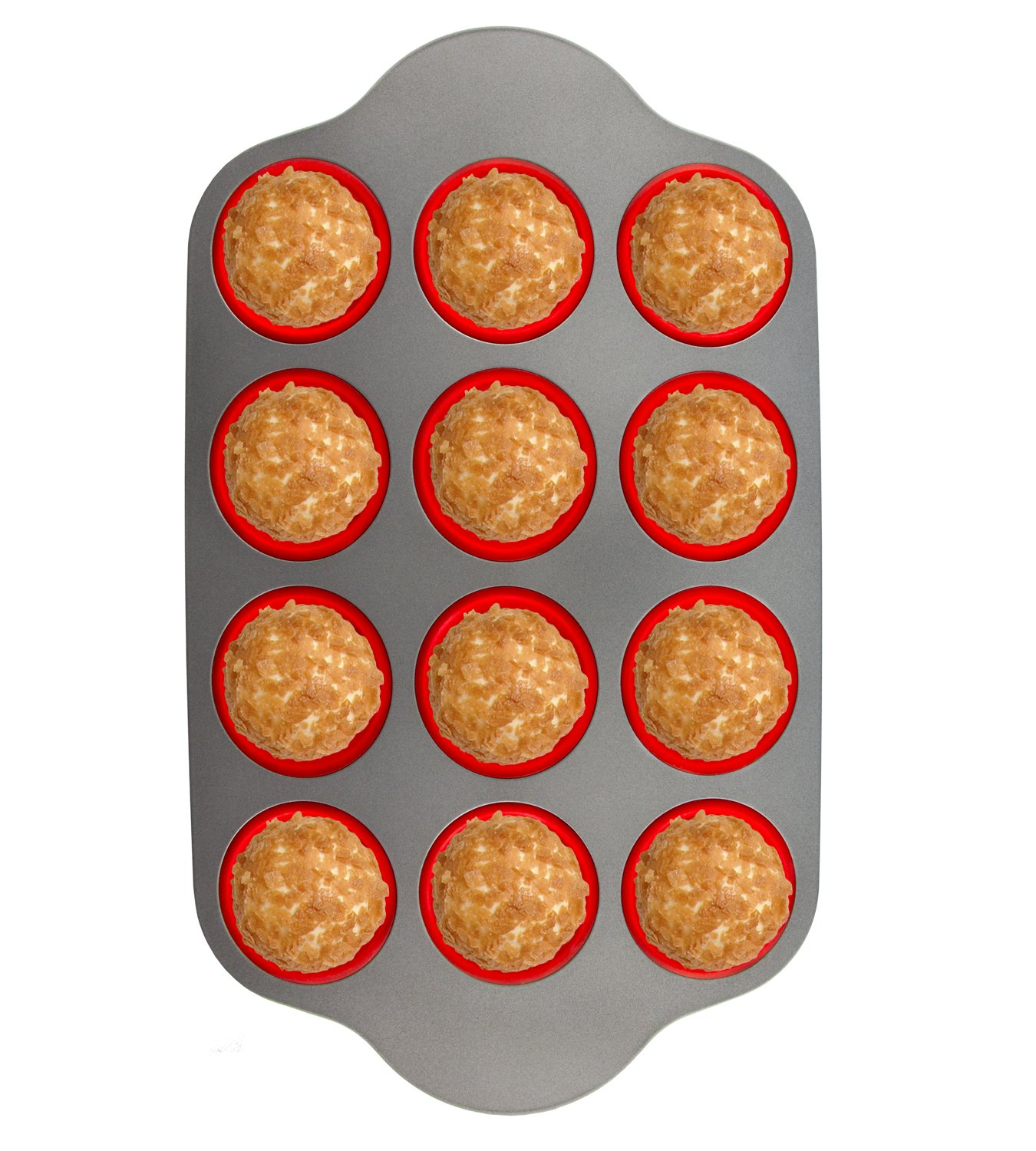 Silicone Muffin Pan With Steel Frame, 12 Cups Full Size | Professional Non-Stick Baking Molds by Boxiki Kitchen | FDA Approved BPA-Free Bakeware | Silicone 12 Cup Muffin Mold