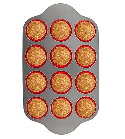 Boxiki Kitchen Silikon Muffinbackform mit Stahlrahmen,12 Becher in voller Größe | Professionelle Antihaft Backformen FDA-zert