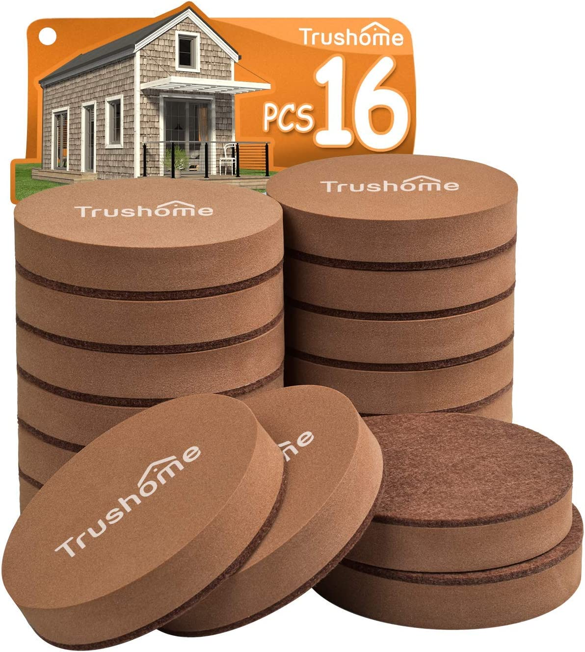 Furniture Sliders for Hardwood Floors, 16 Pack 3 1/2 inch Reusable Moving Pads Heavy Duty Felt Sliders for Hard Surfaces, Heavy Moving Pads Move Heavy Furniture Quickly and Easily