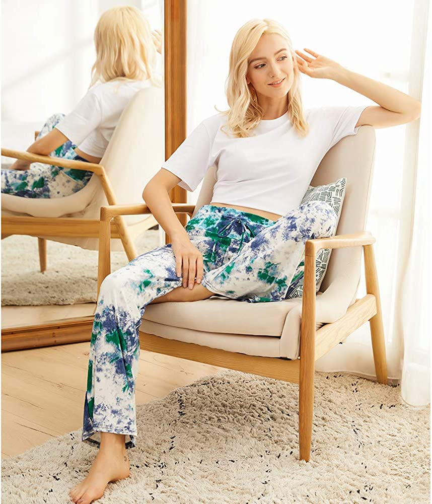 Buttery Soft Pajama Pants for Women – Floral Print Drawstring Casual Palazzo Lounge Pants Wide Leg for All Seasons at  Women's Clothing store