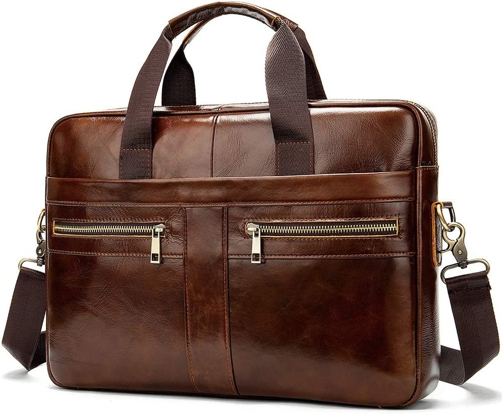 Men Briefcase Water Resistent Spacious Leather Muti-Function Shoulder Satchel Messenger Travelling Bag for Business Work Men Vintage Retro Laptop Briefcase Business Bag