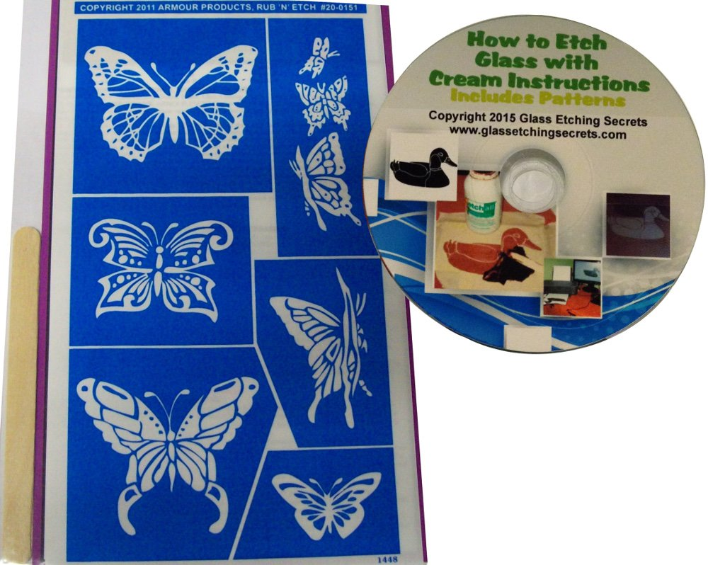Butterfly Stencil Designs, Glass Etching + How to Etch CD with Patterns Armour Products