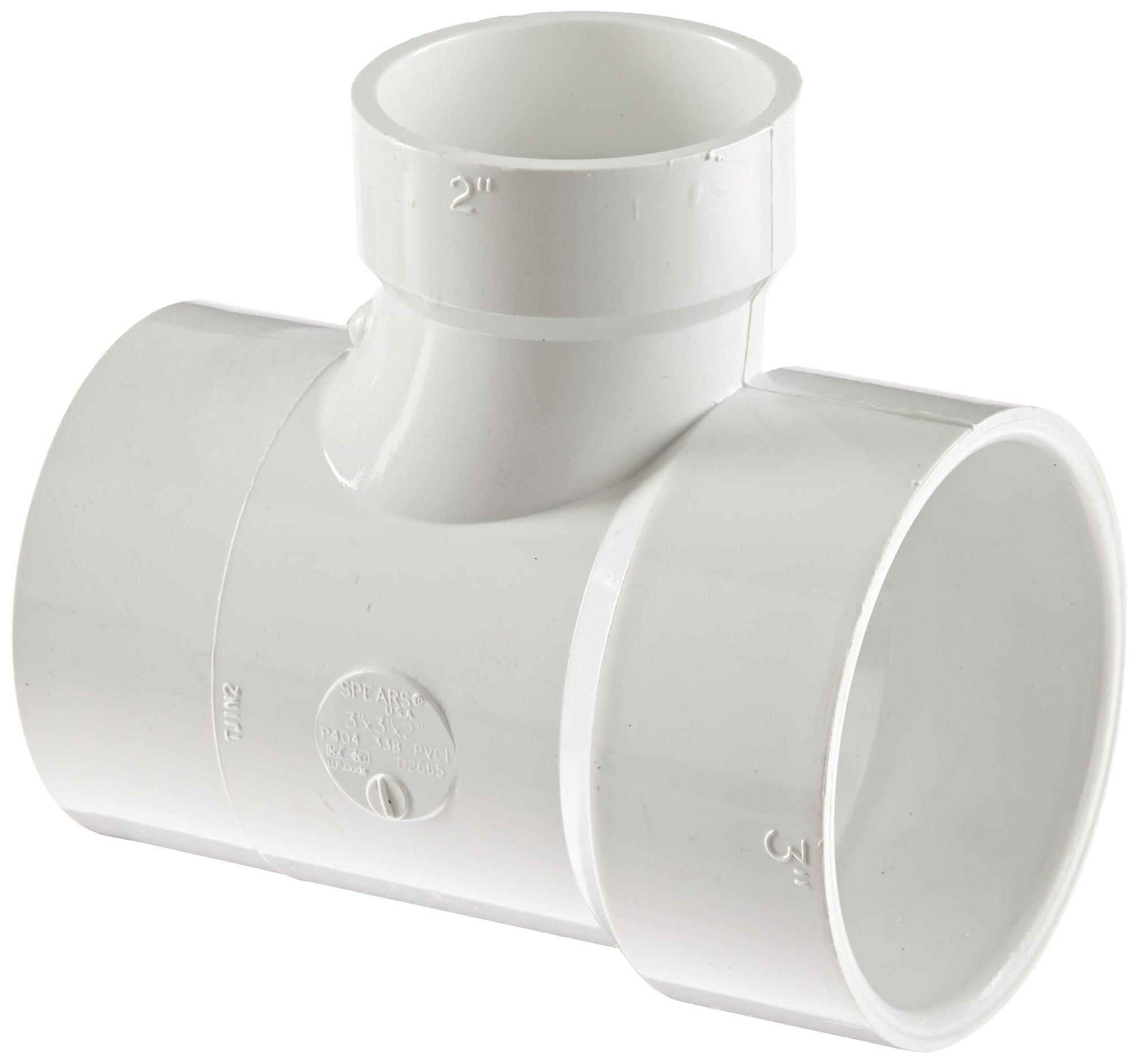 Spears P404 Series PVC DWV Pipe Fitting, Reducing Sanitary Tee, 3'' Spigot x 3'' Hub x 2'' Hub