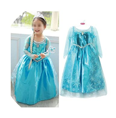 a8ee0206ec5e3 wonderfulmemory New Blue Baby Girls Kids Frozen Costume Dress Snow Princess  Queen Dress Up Children's Party