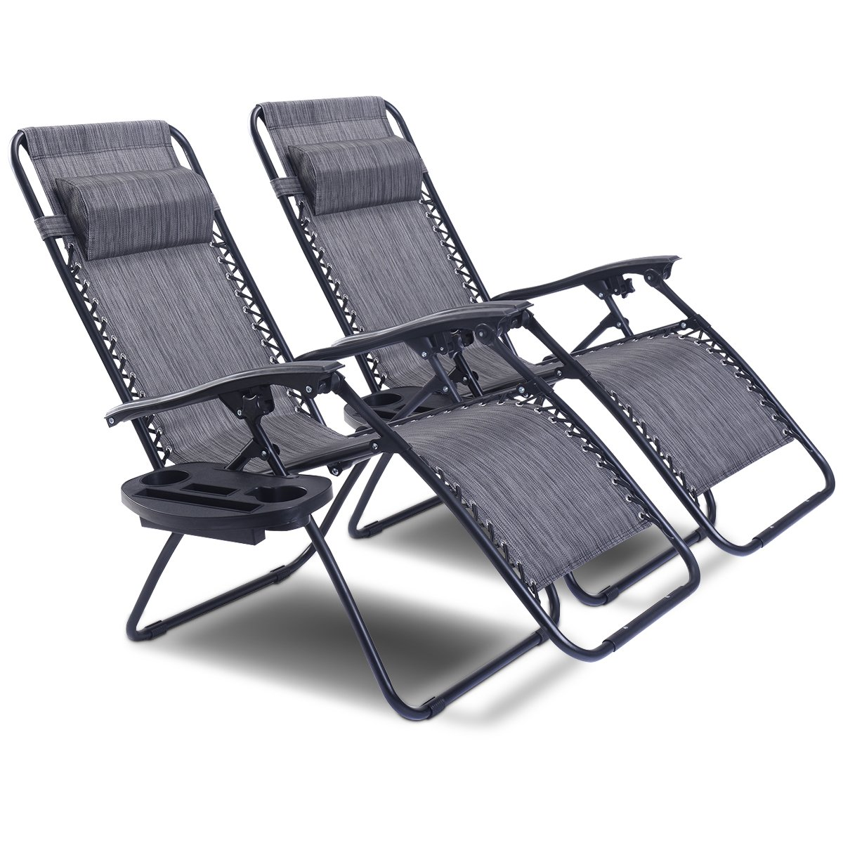 Goplus Zero Gravity Chair Set 2 Pack Adjustable Folding Lounge Recliners for Patio Outdoor Yard Beach Pool w/Cup Holder, 300-lb Weight Capacity (Light Gray) by Goplus