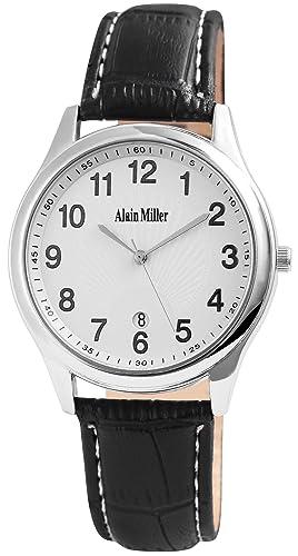 Alain Miller - Reloj de Pulsera analógico para Hombre (Correa de Piel y Mecanismo de Cuarzo), Color Blanco y Negro: Amazon.es: Relojes