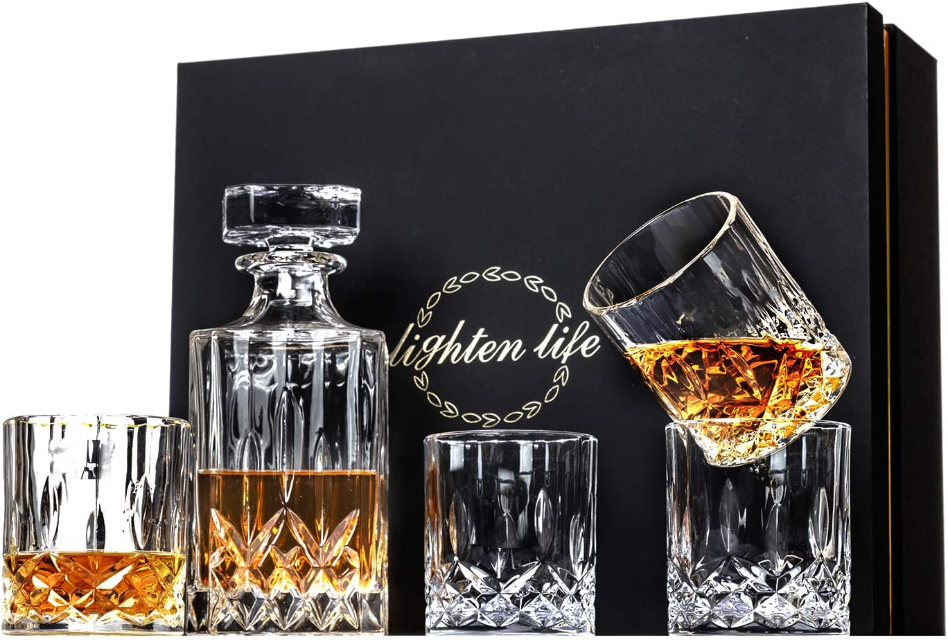 Lighten Life 5-Piece Whiskey Decanter Sets,Crystal Whiskey Decanter with 4 Glass in Unique Box,Bourbon Decanter and Whiskey Glass,Whiskey Glass Decanter Set for Men,Christmas,Birthday,Anniversary