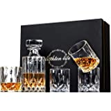Lighten Life 5 Piece Whiskey Decanter Sets,Crystal Whiskey Decanter with 4 Glasses in Gift Box,Lead Free Whiskey Glass and De