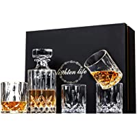 Lighten Life 5-Piece Whiskey Decanter Sets,Crystal Whiskey Decanter with 4 Glass in Unique Box,Bourbon Decanter and…