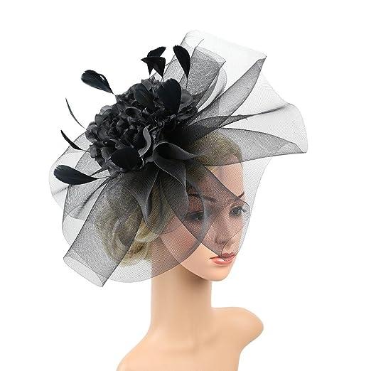 BAOBAO Huge Flower Mesh Fascinator Hat Feather Veil Cocktail Tea ... 119cd868822