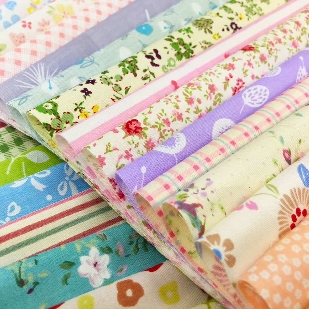flic-flac Quilting Fabric Squares 100% Cotton Precut Quilt Sewing Floral Fabrics for Craft DIY (10 x 10 inches, 30pcs) WJCR-FB-XHB2525-30P
