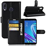 AVIDET Asus Zenfone Max M1 ZB555KL ケース 上質感PUレザーカバー 薄型 軽量 手帳型ケース スタンド機能付きケース (Zenfone Max ZB555KL ケース ブラック)