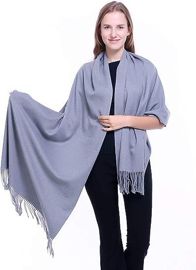 Fashion Men/'s Winter blue 100/% Cashmere Pashmina Solid Tassel Long Soft Scarf