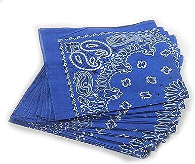 Trebien Pack de 12(100% Algodón) Pañuelos Bandanas Cuadrada de Vaquero con Línea Circular a la Moda (Azul Marino): Amazon.es: Ropa y accesorios