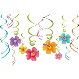 Sun-Sational Summer Luau Party Tropical Hibiscus Swirl Decorations Value Pack, Foil and Paper, Pack of 12