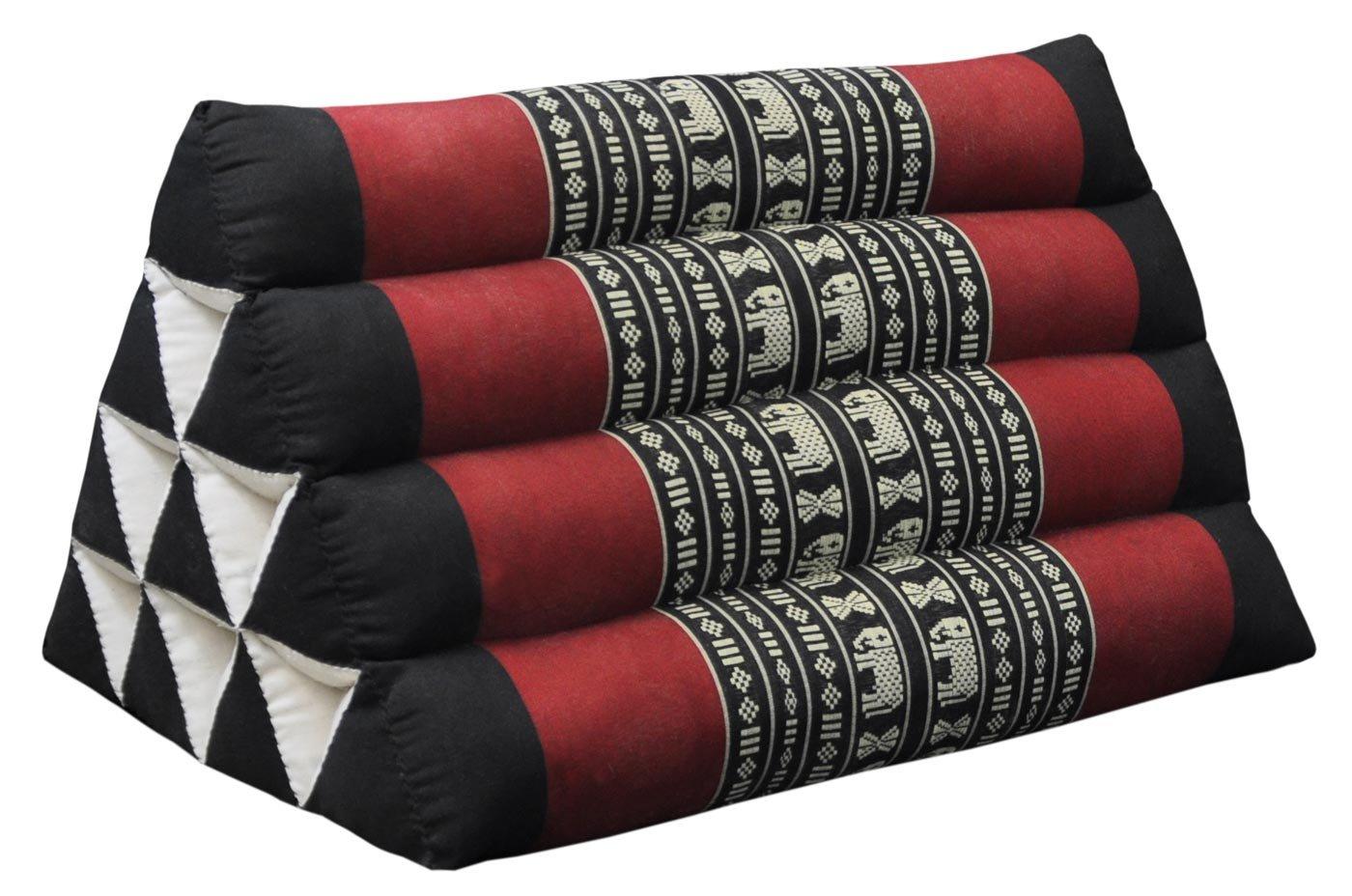 Thai triangular cushion, black/red, relaxation, beach, kapok, made in Thailand. (81600) by Wilai GmbH