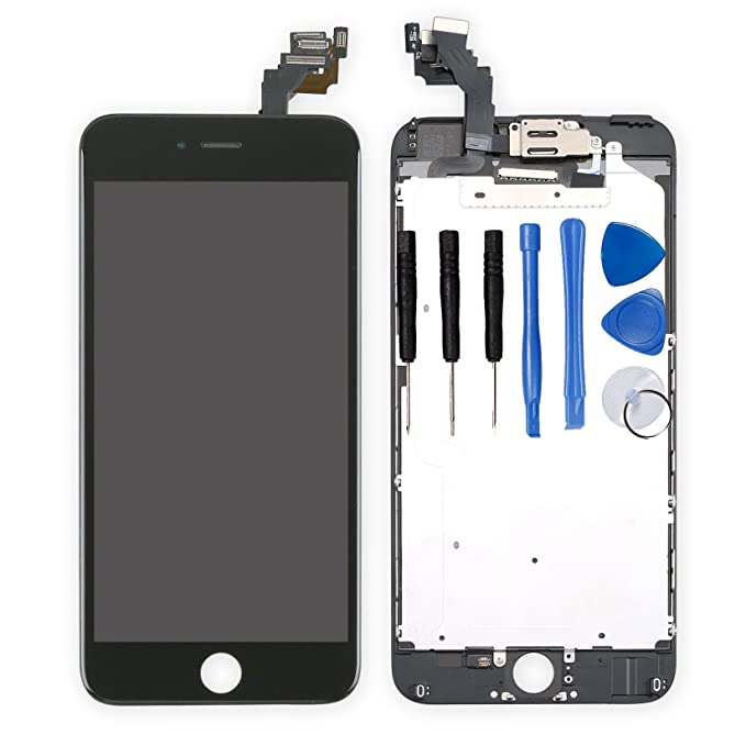 detailed look 86ec8 c4bdb for iPhone 6 Plus Digitizer Screen Replacement Black - Ayake 5.5'' Full LCD  Display Assembly with Front Facing Camera, Earpiece Speaker Pre Assembled  ...