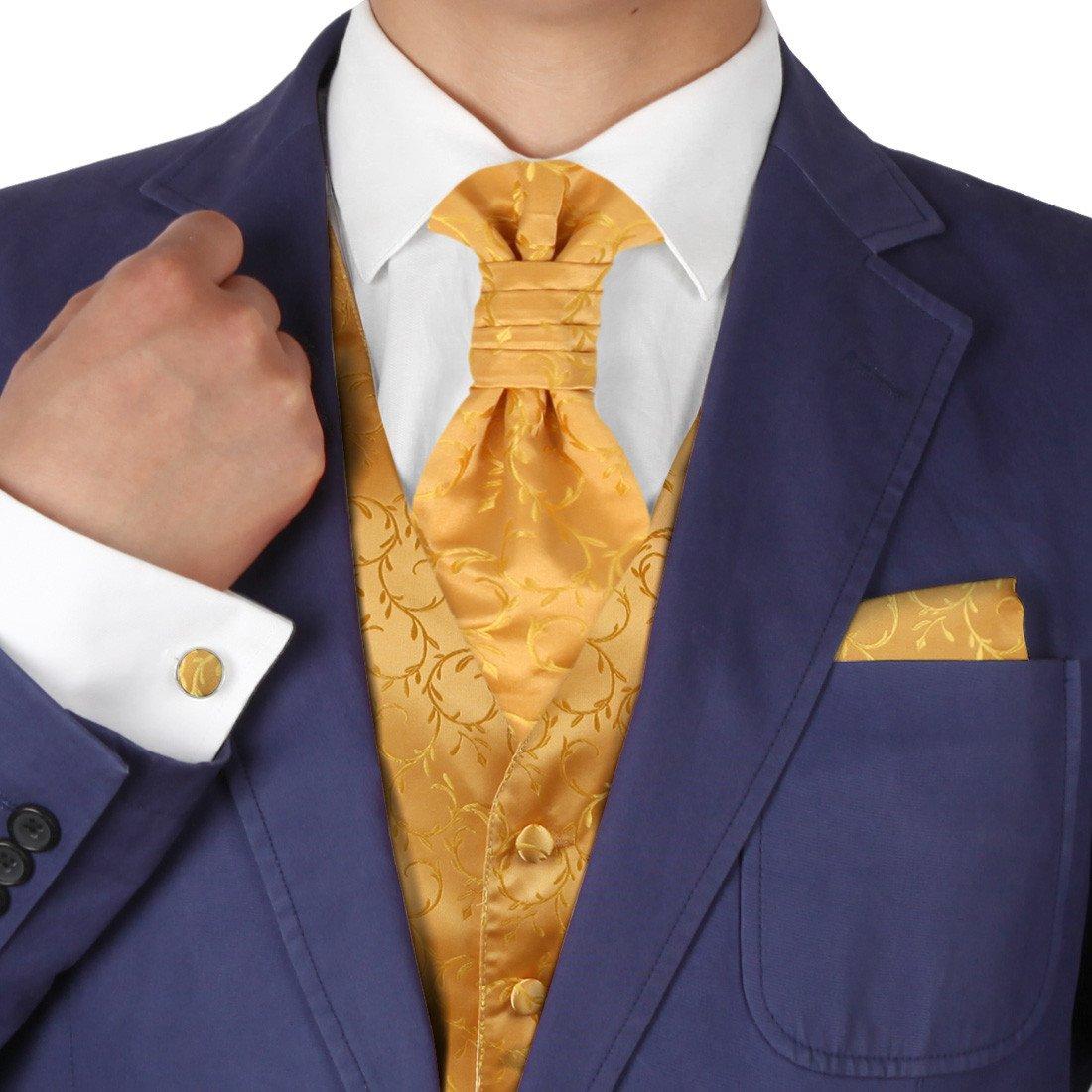 Y/&G Mens Fashion Multi Patterned Good Mens Vests Cufflinks Hanky Ascot Tie Set YGB1B01