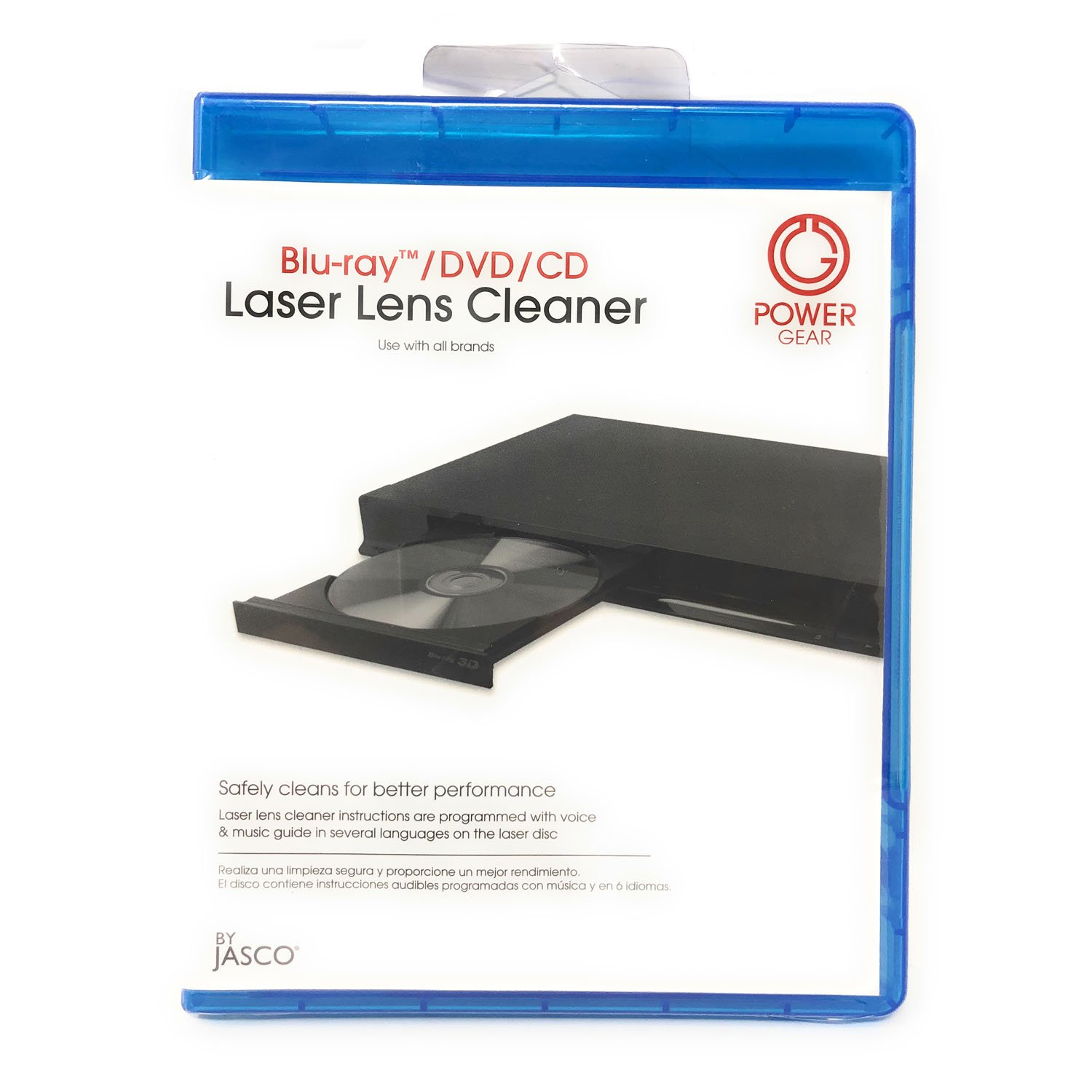 Bluray DVD CD Laser Lens Cleaner with Voice Instructions 6 Different Languages by Power Gear Lens Cleaner