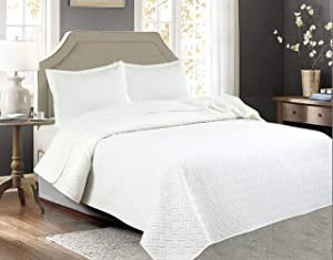 Legacy Decor 3 PCS Squared Stitched Pinsonic Reversible Lightweight All Season Bedspread Quilt Coverlet Oversized, Queen Size, White Color