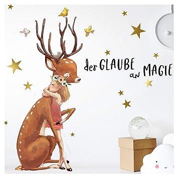 Little Deco Wandtattoo Mädchen REH & Sterne I A4-21 x 29,7 cm I ...