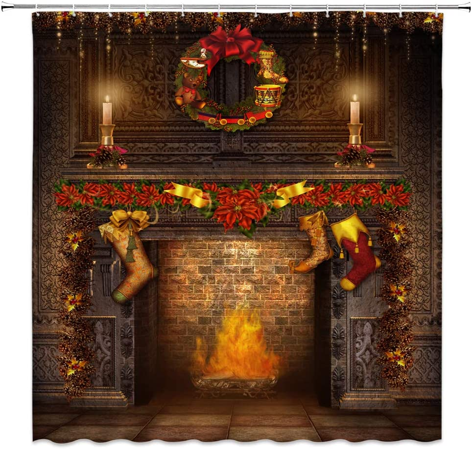 Jingjiji Christmas Decor Shower Curtain Vintage Fireplace Flame Christmas Boots Western Classical Holiday Atmosphere Bathroom Decoration Curtains Polyester Fabric Waterproof with Hook 70 X 70 Inch