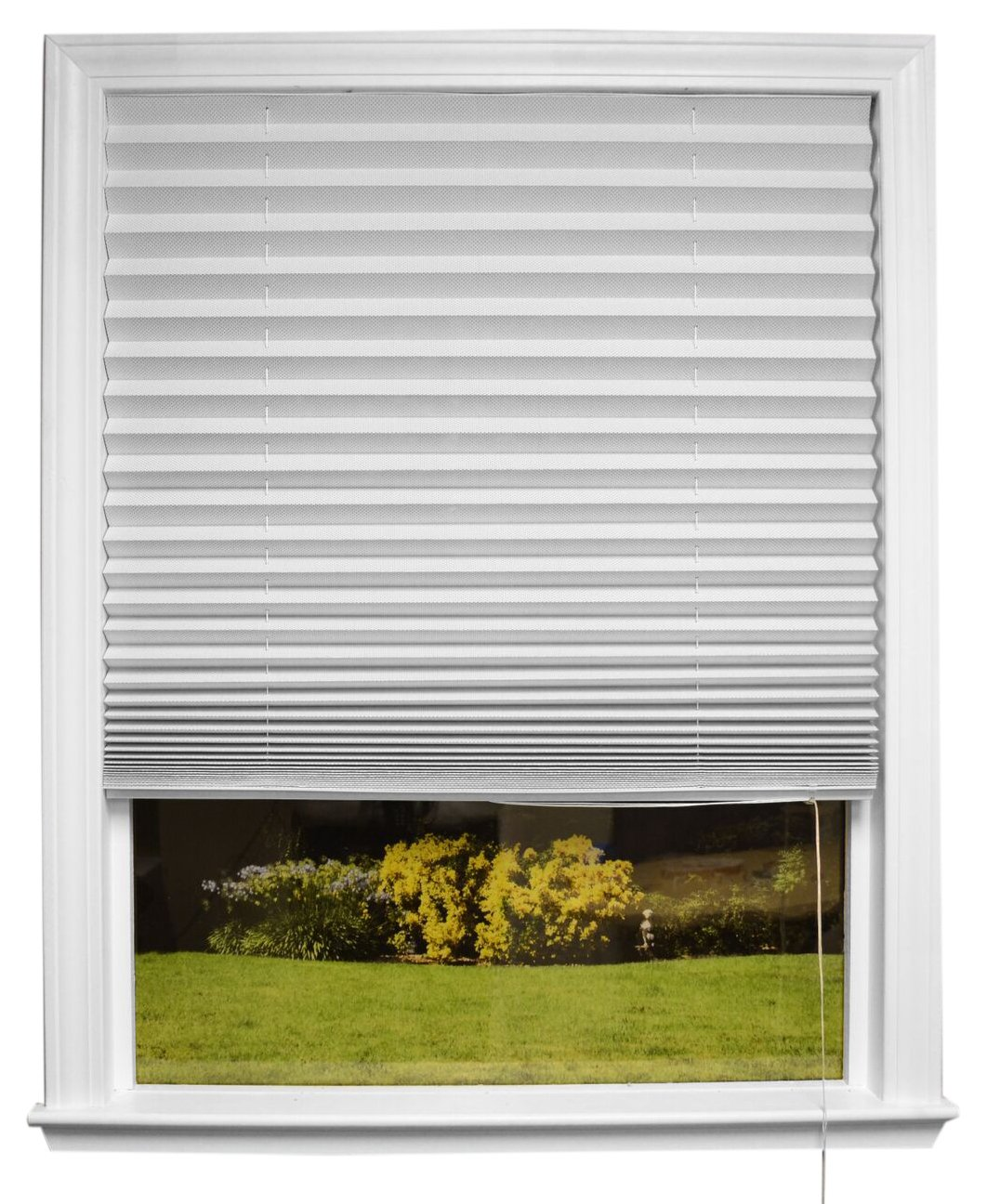 "Original Corded Lift Sheer View Solar Fabric Shade White, 36"" x 72''"
