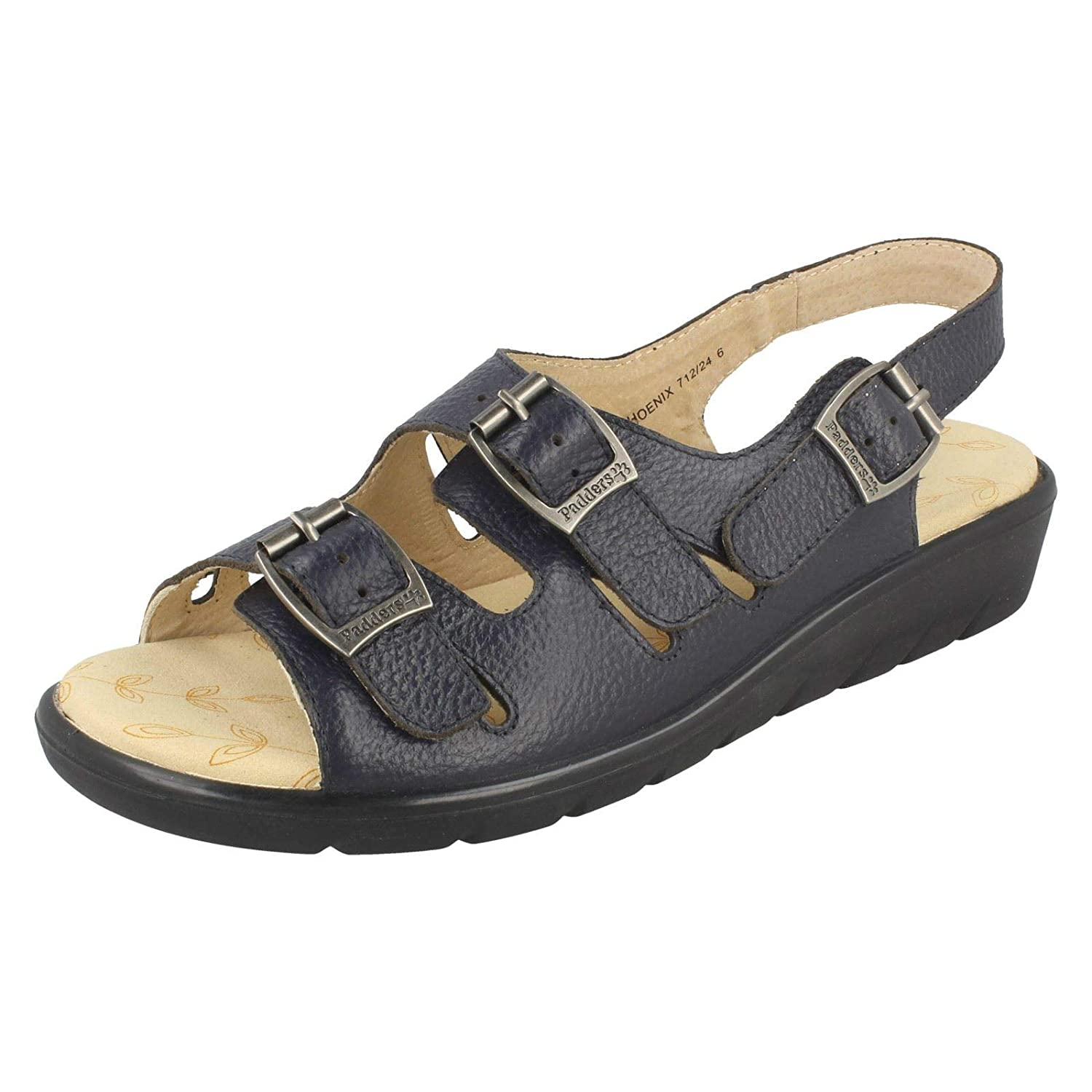 4962bd222b54 Ladies Padders Wide Fitting Sandals Phoenix Navy Leather Size 3E  Amazon.co. uk  Shoes   Bags