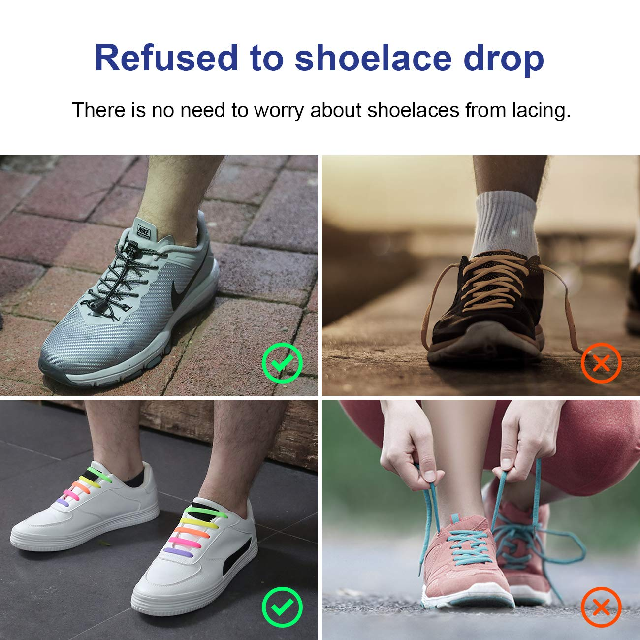 6d733e2d89f3 Amazon.com  GTQ Elastic No Tie Reflective Shoe Laces with Waterproof Rubber  Flat Running Shoelace (Pack of 2) for Kids   Adults. Great for Runners
