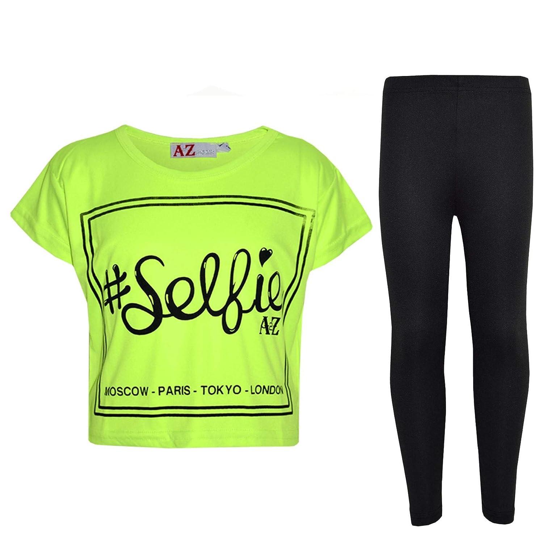 A2Z 4 Kids® Girls Top Kids #Selfie Print Stylish Crop Top & Fashion Legging Set Age 5 6 7 8 9 10 11 12 13 Years