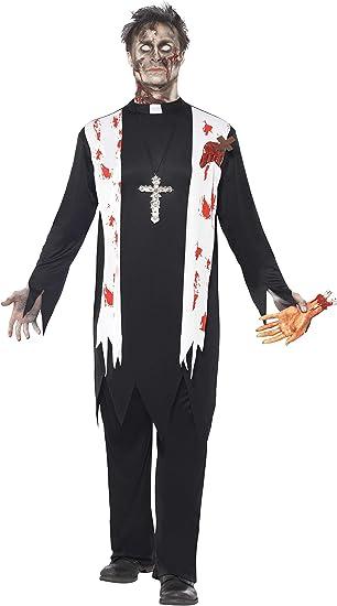 Smiffys-38878M Halloween Disfraz de Cura Zombi, con Parte de ...