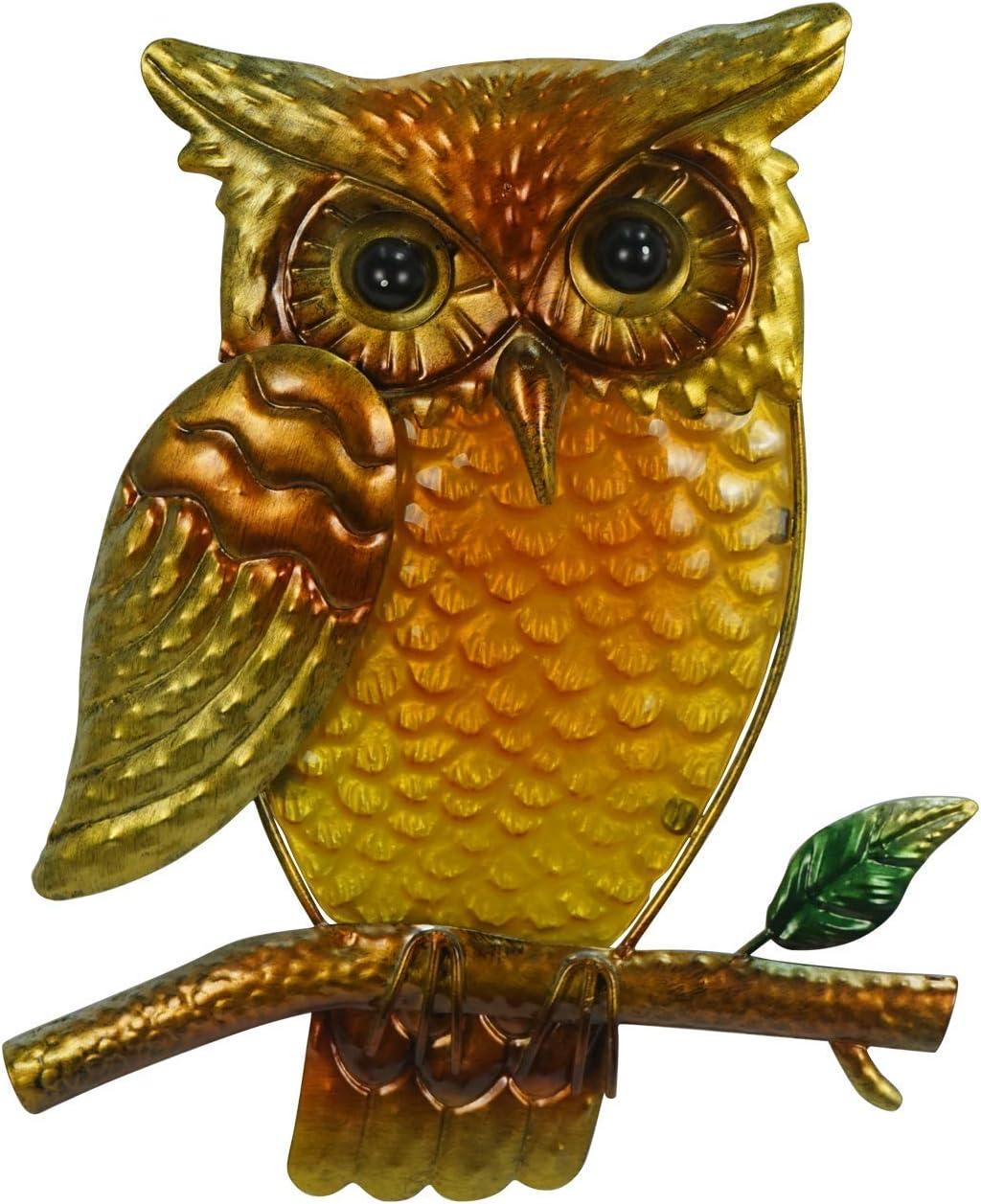 Liffy Metal Owl Wall Decor Art Statue Gift for Garden, Living Room,Home Door,Courtyard