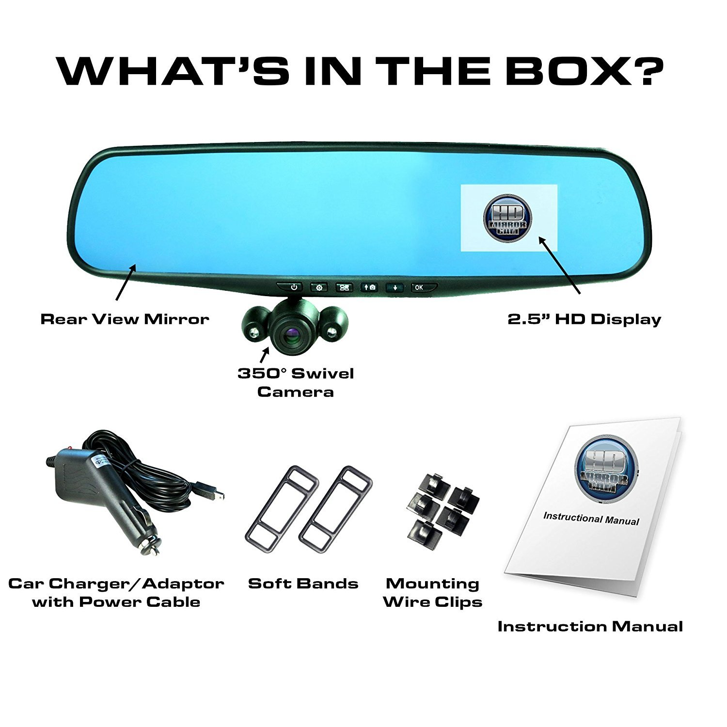 """Official HD Mirror Cam – As Seen on TV Dash Cam 350°, Motion Detection, 2.5"""" LCD, 720P HD, Dashboard Camera..."""