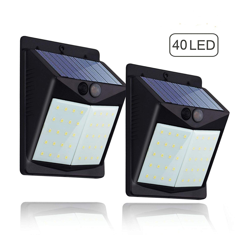 (2 Pezzi) Luce Solare LED Esterno,Hovast 40 LED Lampada Solare con Sensore di Movimento Luci Solari Parete Impermeabile 1500mAh Lampade Solari Esterni Luci Wireless di Sicurezza per Giardino, Parete