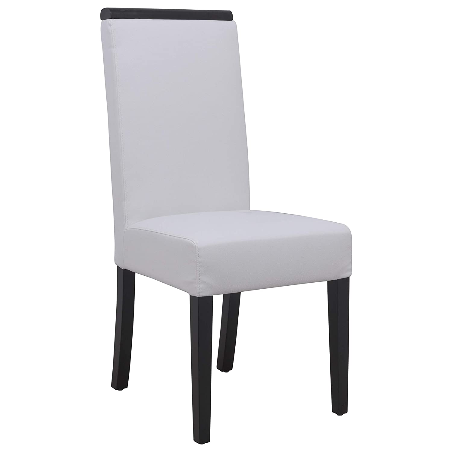 Amazon Com Leisuremod Elroy White Faux Leather Dining Chair Chairs