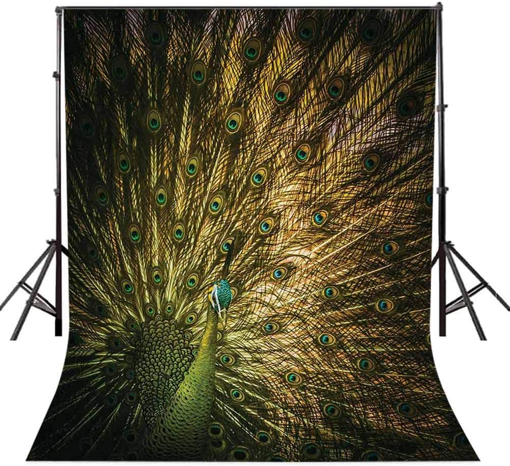 Peacock 6.5x10 FT Photo Backdrops,Portrait of Male Peacock with Feathers Out Picture in Dark Colors Modern Print Background for Party Home Decor Outdoorsy Theme Vinyl Shoot Props Mustard Green