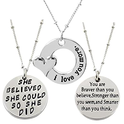 ALoveSoul You Are Braver Than You Believe Inspirational Engraved Letters Pendant Necklace cojfWu